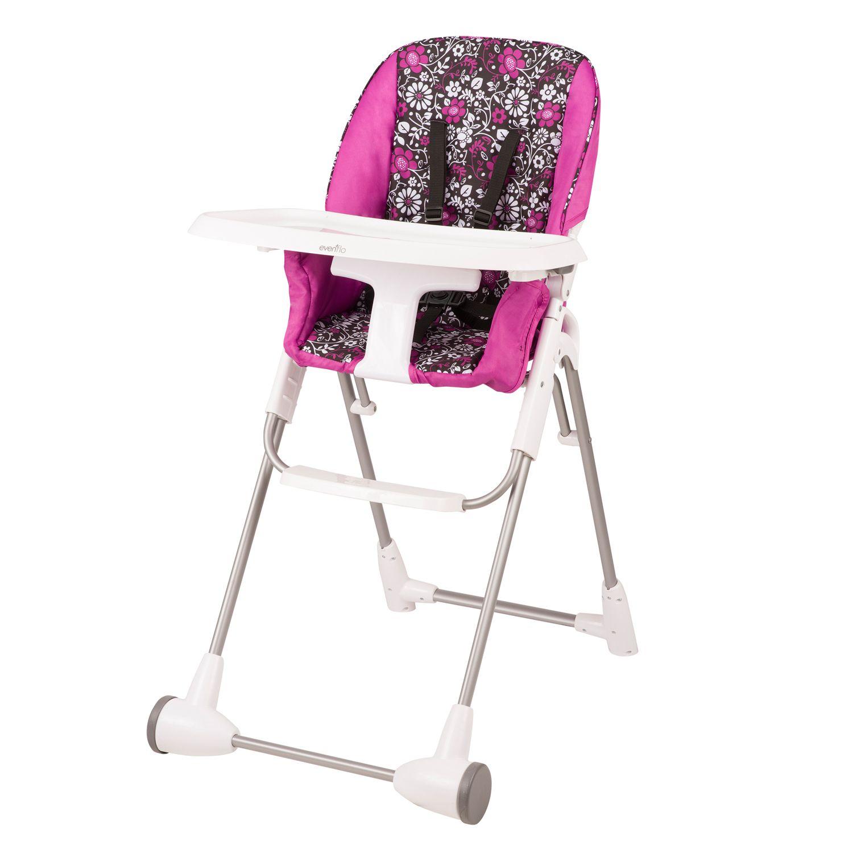 Evenflo Symmetry Flat Fold High Chair. Pink Blue Green