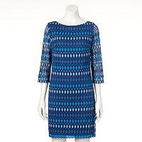 Women's Jessica Howard Print Crochet Shift Dress