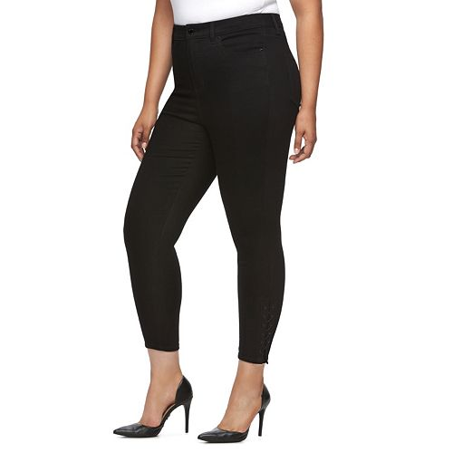 Plus Size Jennifer Lopez Lace-Up High-Rise Skinny Jeans