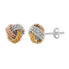 Tri-Tone Sterling Silver Love Knot Stud Earrings