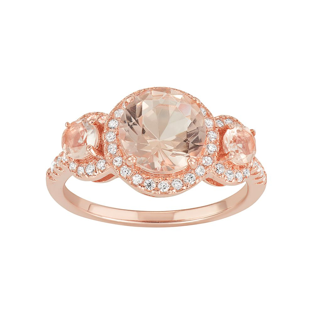14k Rose Gold Over Silver Simulated Morganite & Cubic Zirconia 3stone Ring