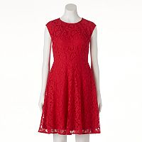 Women's Suite 7 Red Lace Fit & Flare Dress