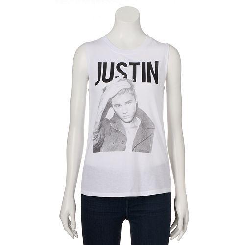 e507a1f5c Juniors' Justin Bieber Crewneck Graphic Muscle Tee