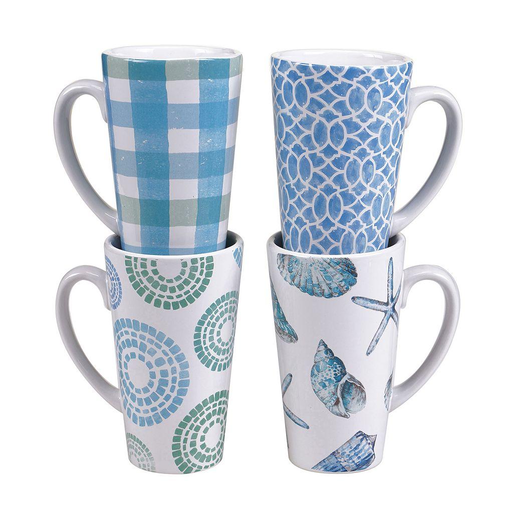 Certified International Sea Finds 4-pc. Latte Mug Set