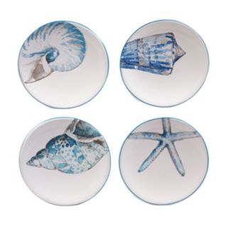 Certified International Sea Finds 4-pc. Canape Plate Set