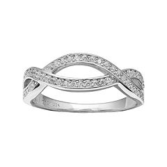 PRIMROSE Sterling Silver Cubic Zirconia Crisscross Ring