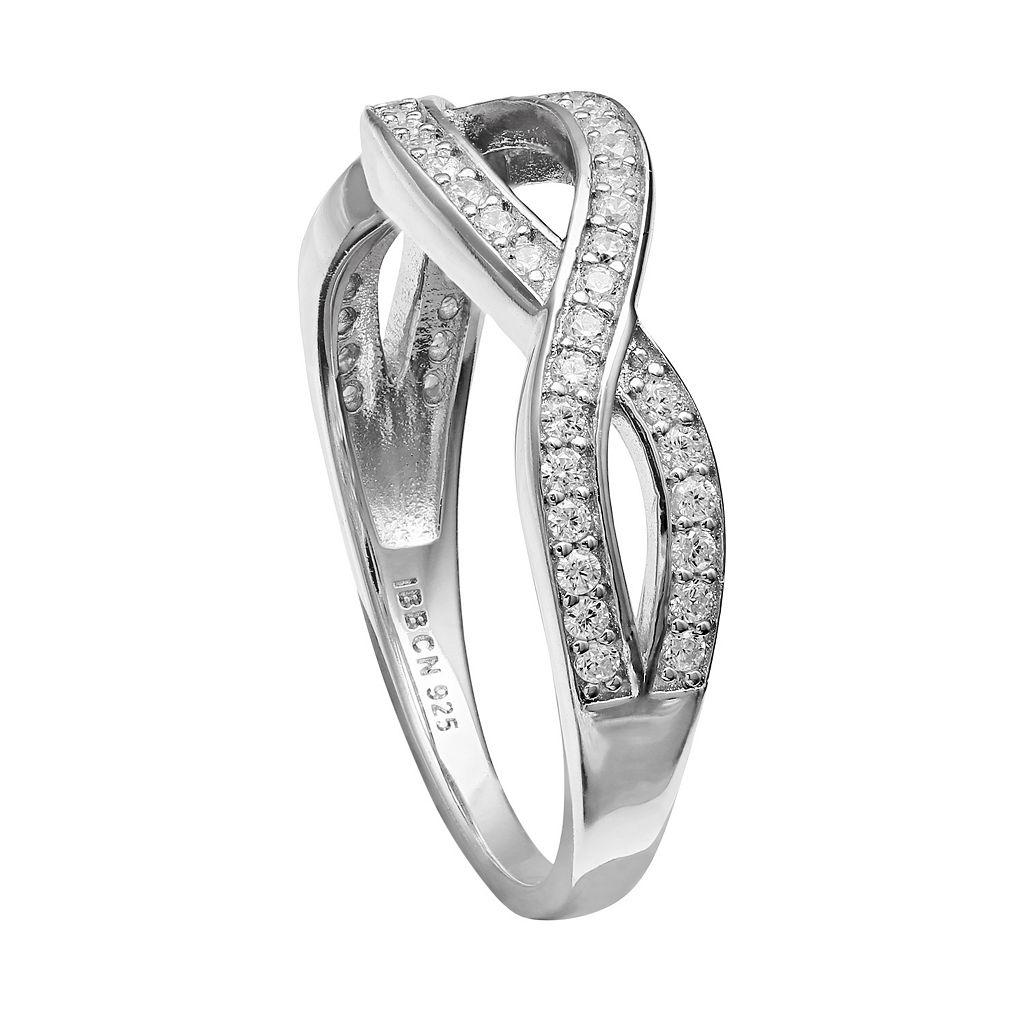 PRIMROSE Sterling Silver Cubic Zirconia Crisscross Ring