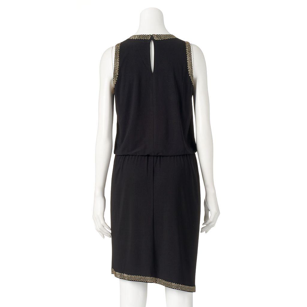 Women's Scarlett Studded Faux-Wrap Dress
