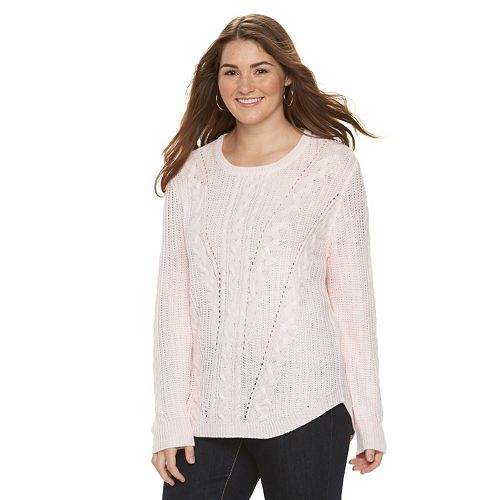 Juniors Plus Size So Cable Knit Sweater