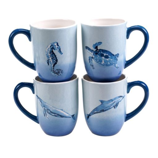 Certified International Sea Life 4-pc. Coffee Mug Set