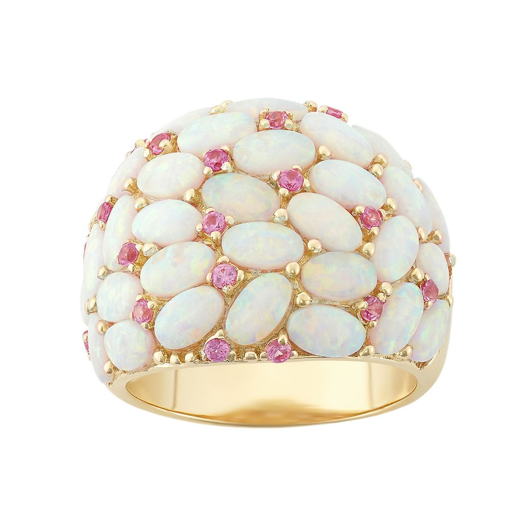 18k Gold Over Silver Lab-Created Opal & Pink Sapphire Ring