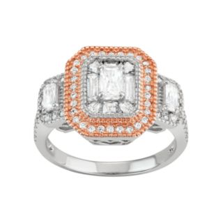 Two Tone Sterling Silver Cubic Zirconia Cluster Halo Ring