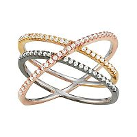 Tri-Tone Sterling Silver Cubic Zirconia Double X Ring