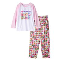 Girls 4-10 Shopkins Lippy Lips, Kooky Cookie & Poppy Corn Raglan Pajama Set