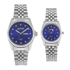 August Steiner Men's & Women's Diamond Stainless Steel Watch Set