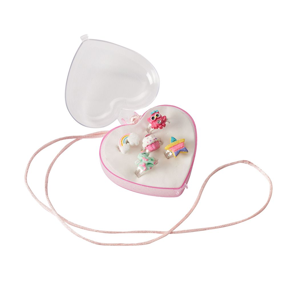 Girls 4-16 5-pc. Ring & Heart Jewelry Box Necklace Set