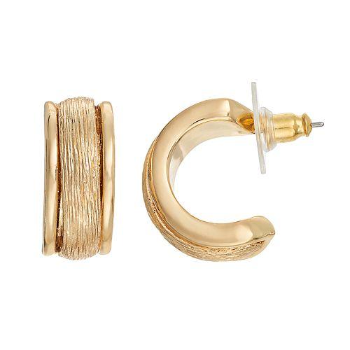 Dana Buchman Textured Half Hoop Earrings