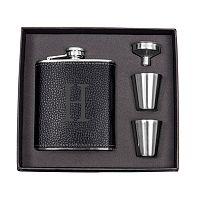 Cathy's Concepts 5-pc. Black Leather Monogram Flask Set