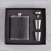 Cathy's Concepts 5 pc Black Leather Monogram Flask Set