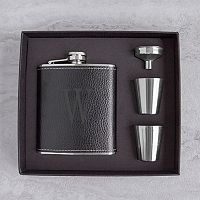 Cathy's Concepts 5-pc. Black Leather Monogram Flask Set