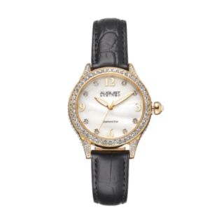 August Steiner Women's Diamond & Crystal Leather Watch