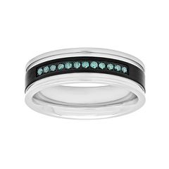 Men's Stainless Steel 1/6 Carat T.W. Blue Diamond Wedding Band