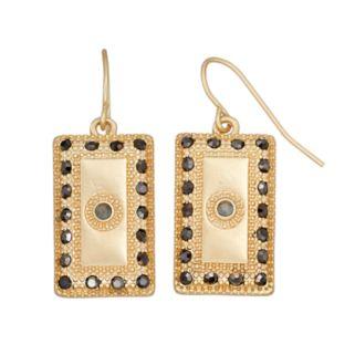 Black Stone Rectangular Nickel Free Drop Earrings
