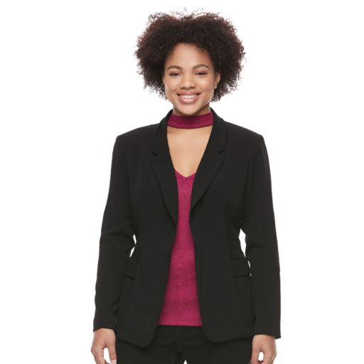 Juniors' Plus Size Candie's® Open-Front Suiting Blazer