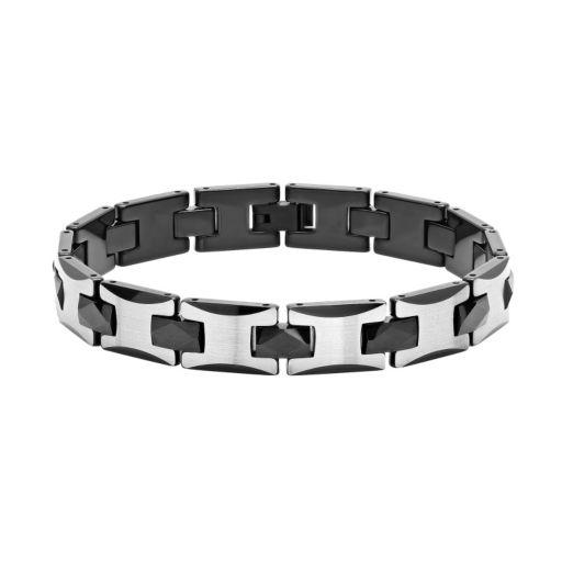 Men's Two Tone Tungsten Carbide Bracelet