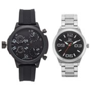 Joshua & Sons Men's Triple Time Zone Swiss Watch Set