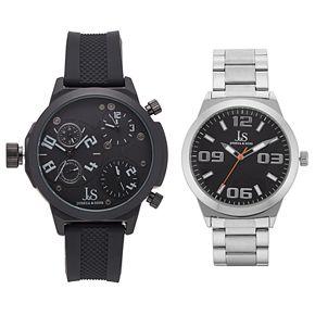 Joshua & Sons Men's Triple Time Zone Swiss Watch Set