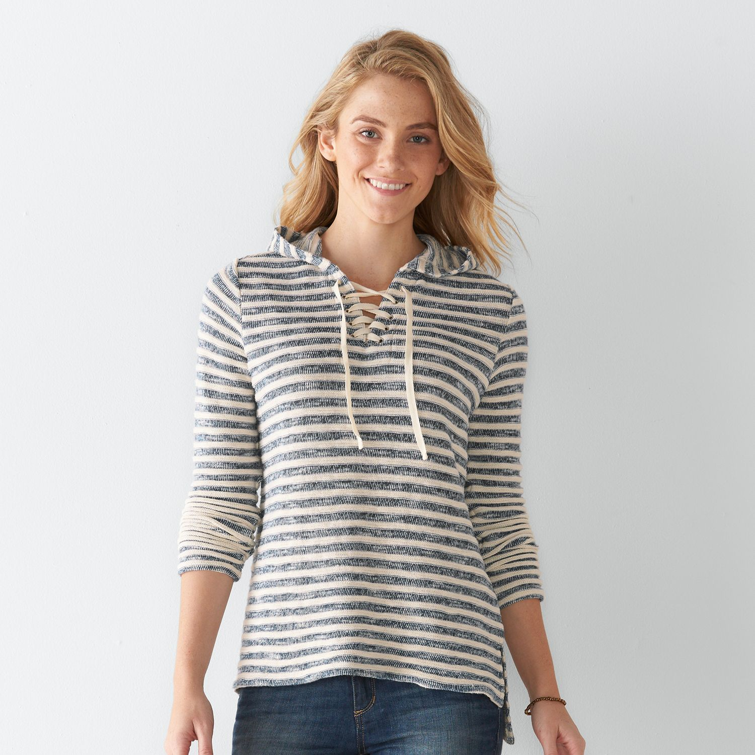 Womens SONOMA Goods for Life? Striped Lace-Up Hoodie