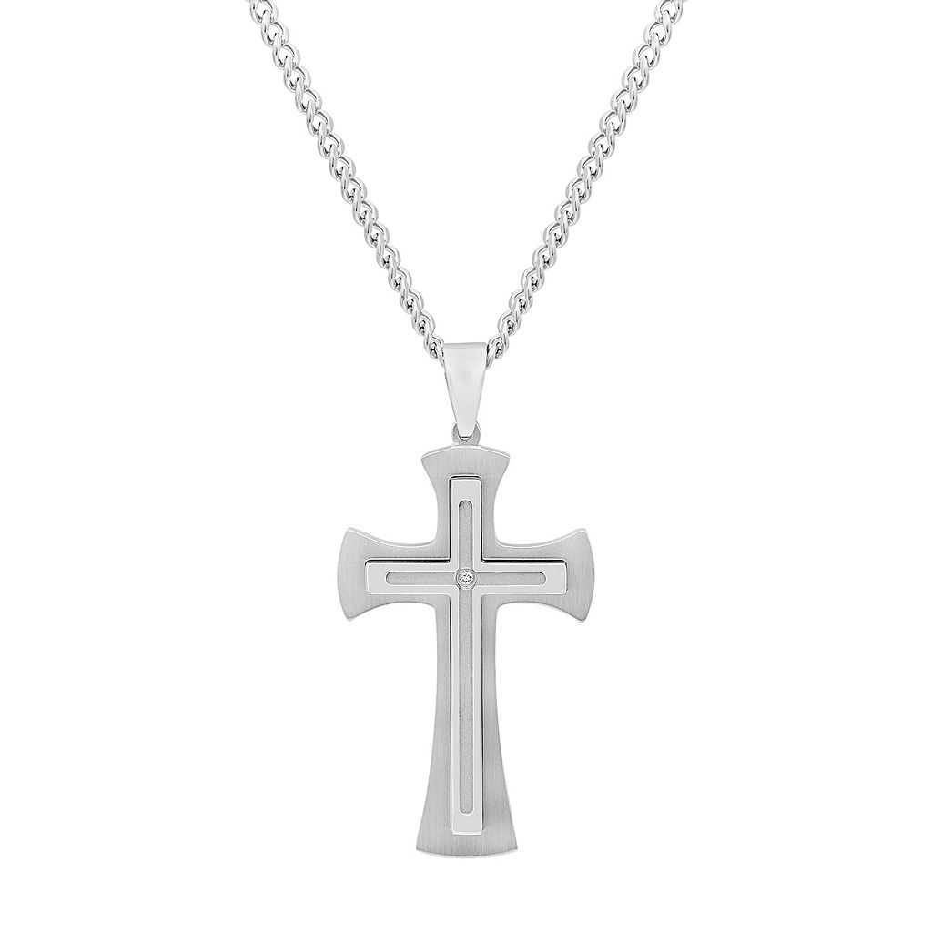 Men's Stainless Steel Diamond Accent Cross Pendant Necklace
