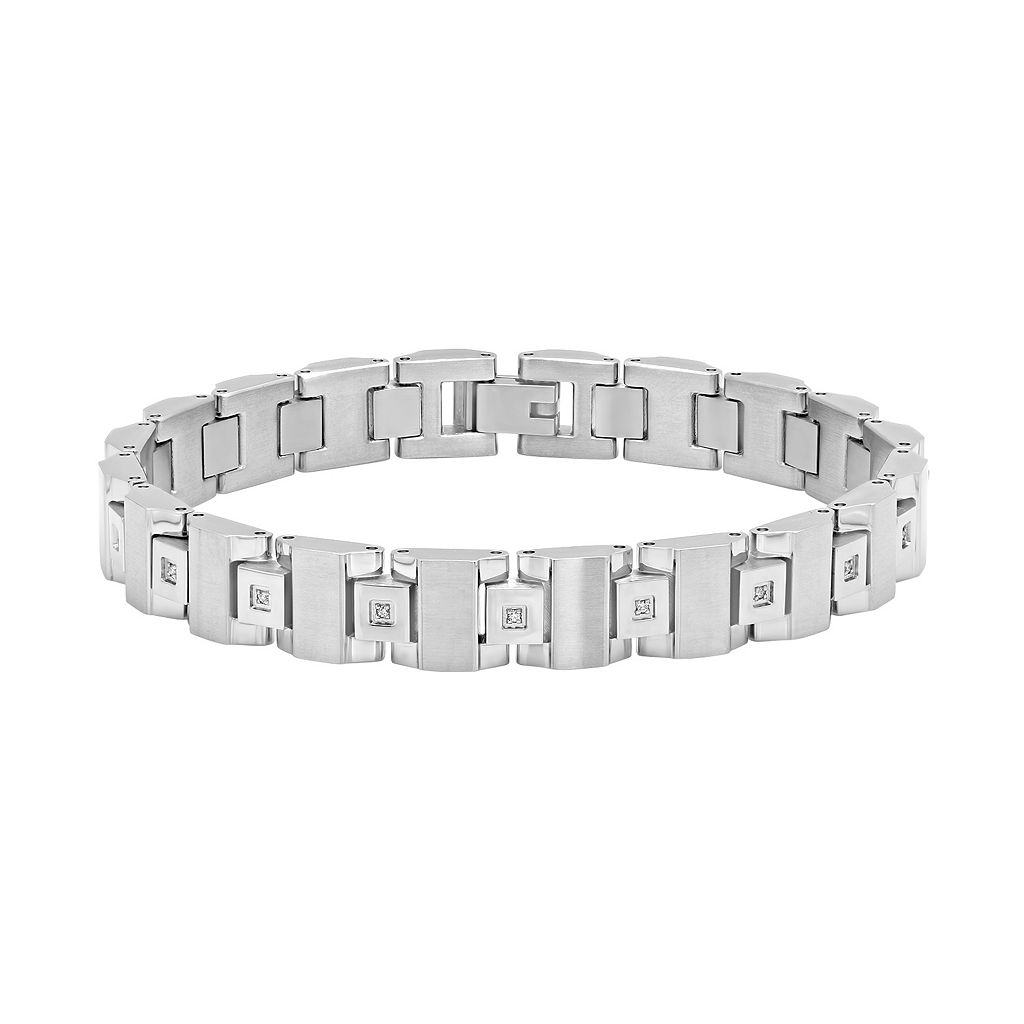 Men's Stainless Steel 1/10 Carat T.W. Diamond Bracelet