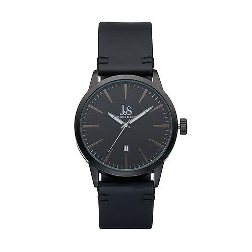 Joshua & Sons Men's Leather Swiss Watch
