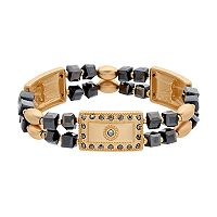Bead & Rectangle Link Stretch Bracelet