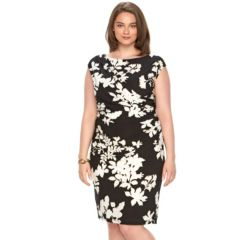 Plus Size Chaps Floral Draped Sheath Dress