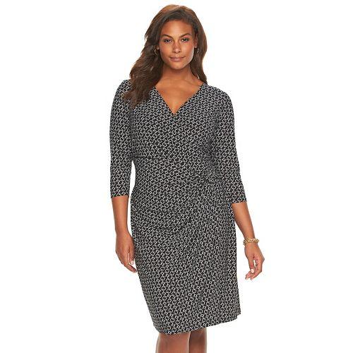 88862559c0 Plus Size Chaps Chain Print Faux-Wrap Dress