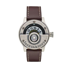 Joshua & Sons Men's Leather Compass Watch