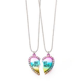 Girls 4-16  2-pc. Rainbow Heart Best Friends Necklace Set
