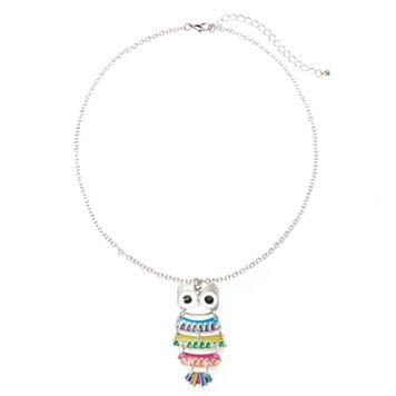 Girls 4-16 Shaky Owl Pendant Necklace