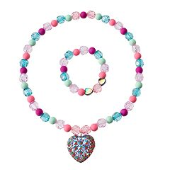 Girls 4-16 2 pc Heart Necklace & Bracelet Set