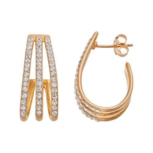 Chrystina 14k Gold Plated Crystal Triple J Hoop Earrings