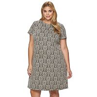 Plus Size Suite 7 Textured Scroll Shift Dress