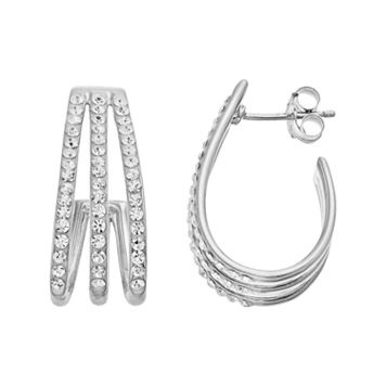 Chrystina Silver Plated Crystal Triple J Hoop Earrings