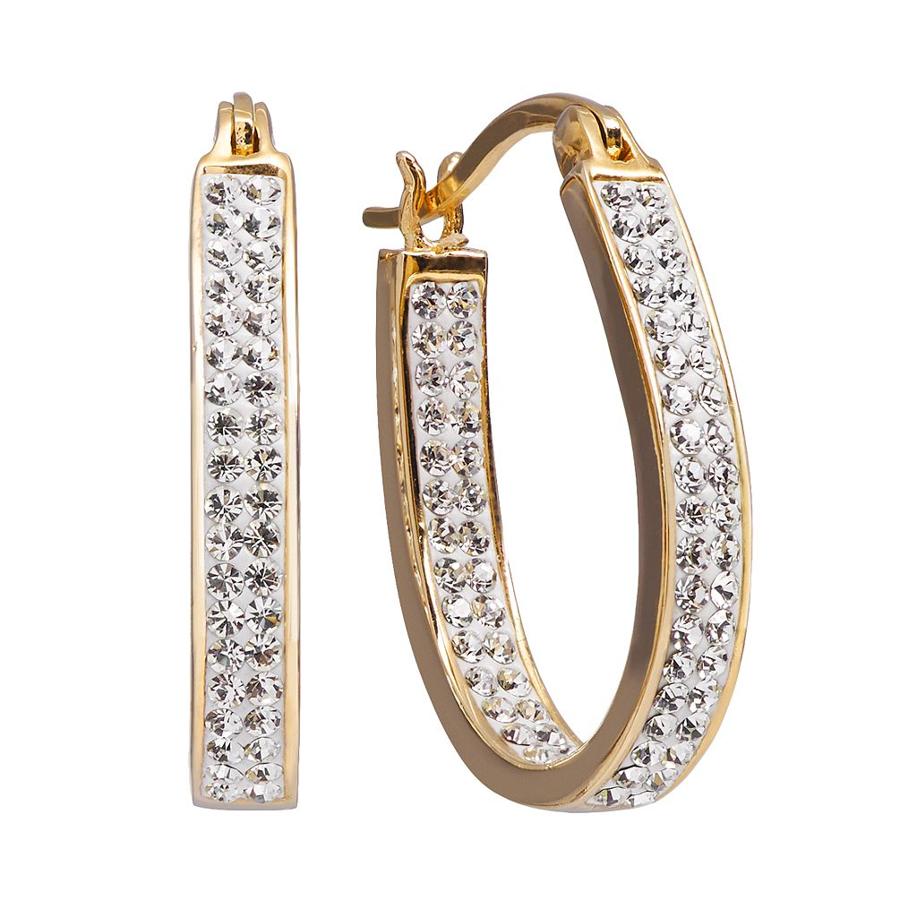 Chrystina 14k Gold Plated Crystal Inside Out U Hoop Earrings