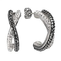 Chrystina Silver Plated Crystal Crisscross Half Hoop Earrings