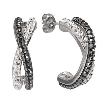 Chrystina Silver Plated Crystal Crisscross Half Hoop Earrings
