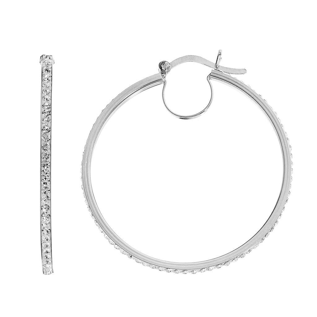 Chrystina Silver Plated Crystal Hoop Earrings