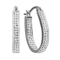 Chrystina Silver Plated Crystal Inside Out U Hoop Earrings